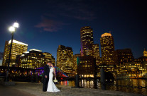 Bride and Groom with the Boston Skyline