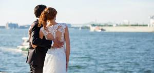 bride & groom in summer